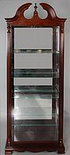 PULASKI FURNITURE CO. CHIPPENDALE STYLE MAHOGANY AND GLASS LIGHTED DISPLAY CABINET
