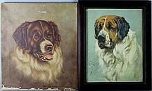 SAINT BERNARD along with A SIMILAR PRINT and STILL LIFE Oil on canvas: 16 x 14 in.; 13 3/4 x 10 1/2 in. (sight); 20 x 24 in.