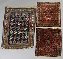 BIJAR BOTEH RUG TOGETHER WITH TWO SMALL SAROUK WOOL RUGS