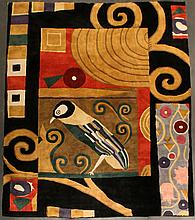 UNUSUAL LARGE CONTEMPORARY COLOR BLOCK BIRD DESIGN WOOL RUG