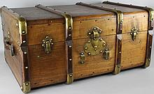 ANTIQUE TRUNK WITH BENTWOOD DETAILS, BRASS MOUNTS AND LEATHER HANDLES