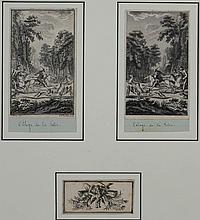 CHARLES EISEN (1720-1778) L'ELOGE DE LA FOLIE along with TWO ENGRAVINGS MOUNTED IN ONE FRAME Etching: 5 x 3 in.