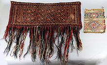 A FINELY WOVEN BALUCH GULS' PATTERN OVER DOOR VALANCE WITH BRAIDED FRINGE AND A RECTANGULAR RUG FRAGMENT