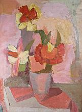EHRLICH STILL LIFE WITH FLOWERS, 1968 Oil on linen: 24 1/4 x 18 in.
