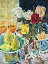 (20TH CENTURY) STILL LIFE WITH PEARS AND FLOWERS Oil on board: 21 1/4 x 16 1/4 in.