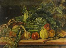 ENGLISH SCHOOL (19TH CENTURY) STILL LIFE WITH FRUIT AND VEGETABLES Oil on canvas: 18 1/4 x24 in.