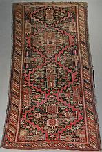 ANTIQUE CAUCASIAN OUSHAK SERRATED MEDALLION WOOL RUNNER