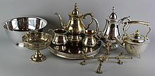NINE SILVERPLATE OBJECTS: DISH CROSS, FOOTED BOWL, REVERE BOWL, GALLERY TRAY , FOUR PIECE COFFEE SET AND FOOTED TEA POT