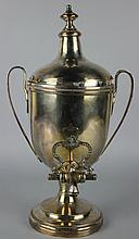 A CHINESE WHITE METAL TEAPOT WITH WARMING STAND