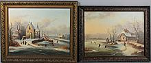 DUTCH SCHOOL (19TH CENTURY) A PAIR OF DUTCH WINTER LANDSCAPES Oil on canvas: 19 1/2 x 25 1/2 in. and 18 3/4 x 25 in.