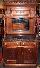 VICTORIAN CARVED WALNUT TWO PIECE SIDEBOARD