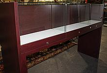 SLEEK CONTEMPORARY GLASS AND MAHOGANY STAINED VENEER TRIPLE DISPLAY CABINET, DOUBLE SIDED, WITH LOCKS AND A KEY