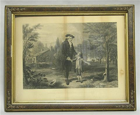 JOHN C MCRAE ENGRAVER - 1880 FATHER I CANNOT TELL A LIE Print: 19 1/4 x 25 in. (sight)