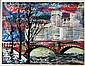 ARTIST UNKNOWN (20TH CENTURY) MODERN CITYSCAPE Oil on canvaspaper: 11 3/4 x 15 in. (sight), 21 3/4 x 25 1/4 in. (framed)