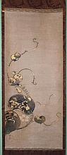 STYLE OF KORIN (JAPANESE, 18TH CENTURY) GOURD VINE WITH FLOWERS Ink and color on paper mounted on silk hanging scroll: 47 x 20 1/2 i...