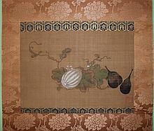 AFTER TOSA MITSUOKI (JAPANESE, 18TH CENTURY) STILL LIFE WITH WHITE GOURD Ink and color on silk mounted on silk hanging scroll: 10 x...