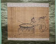 ISEN'IN (JAPANESE, 18TH CENTURY) SHOJO WITH SAKAZUKI Ink and color on silk mounted on silk hanging scroll: 12 x 15 1/2 in.