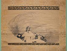 KANO SCHOOL (JAPANESE, 18TH CENTURY) REEDS AND HERON ON ROCK Ink on paper mounted on silk hanging scroll: 11 1/4 x 17 1/2 in.
