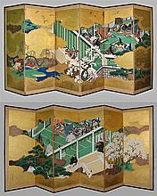 PAIR OF SIX PANEL SCREENS DEPICTING TALES OF GENJI