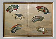 KYOTO SCHOOL TWO PANEL SCREEN, MEIJI PERIOD, CA. 1900