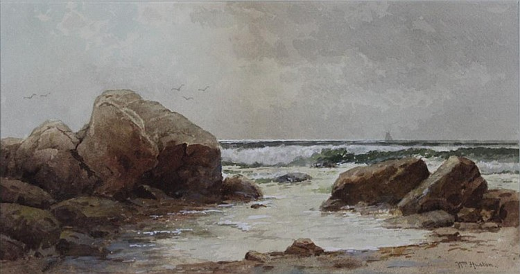 WILLIAM HUSTON (AMERICAN, LATE 19TH CENTURY) BY THE SEA Watercolor: 9 1/4 x 17 1/2 in.