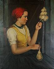 (20TH CENTURY) GIRL AT SPINNING WHEEL Oil on Canvas: 30 x 23 3/4 in.