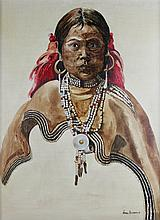 ANNE HANNA (20TH/21ST CENTURY) PORTRAIT OF A NATIVE AMERICAN Acrylic on canvas: 23 x 17 1/2 in.