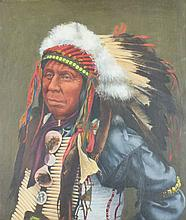 (20th/21st CENTURY) NATIVE AMERICAN CHIEF Oil on panel: 19 x 15 in.
