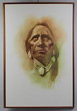 MAHER PORTRAIT OF A NATIVE AMERICAN Acrylic on canvas: 36 x 24 in.