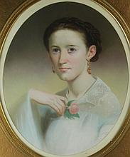 AMERICAN SCHOOL (19TH CENTURY) PORTRAIT OF A YOUNG WOMAN HOLDING A ROSE Pastel: 21 x 17 in. (sight)
