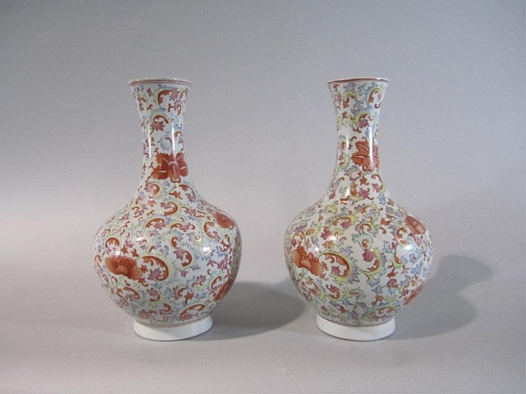 H18-63  PAIR OF PORCELAIN VASES