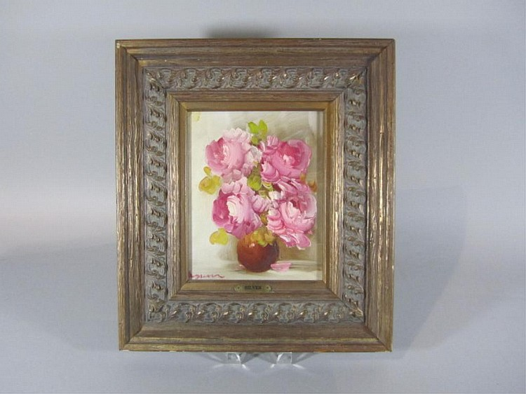 H18-20  PINK FLOWERS OIL PAINTING