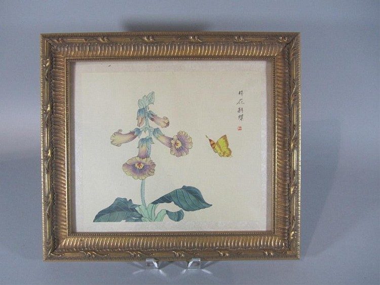 H18-22  ASIAN FLOWERS & BUTTERFLY PAINTING