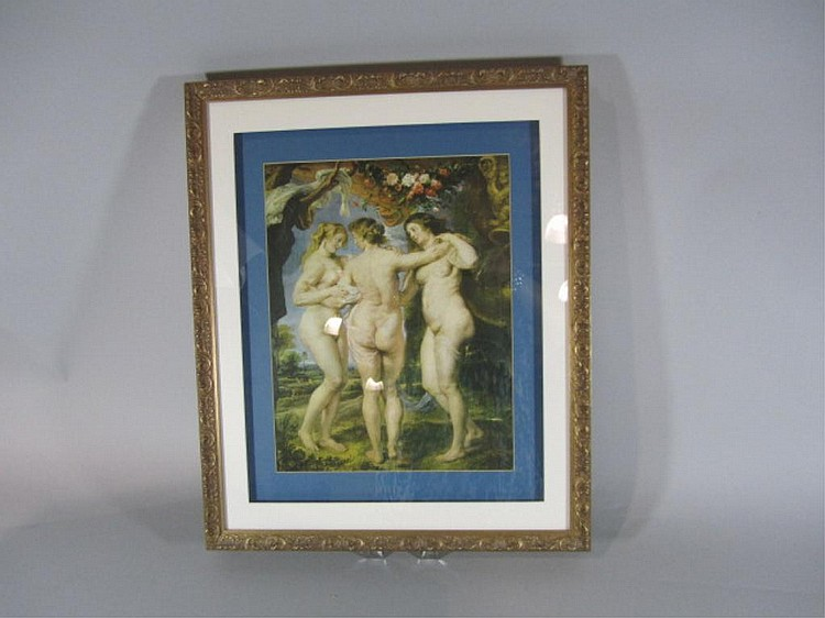 H18-26  FRAMED PRINT OF THREE NUDES