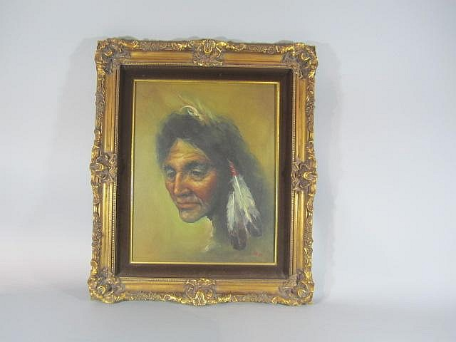 H18-30  NATIVE AMERICAN OIL ON CANVAS
