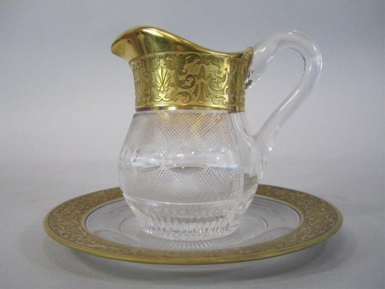 H80-203  MOSER SPLENDID GOLD PITCHER & PLATE