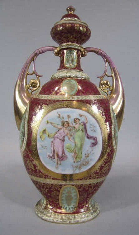 A44-39  ROYAL VIENNA COVERED URN