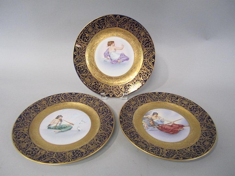 H25-23  SET OF THREE PORCELAIN BAVARIA PLATES