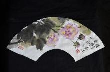 Chinese Furong Fan Painting Zhao Xing Fang