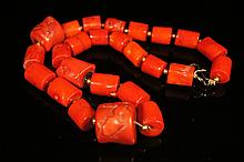 Chinese antique red coral beads necklace