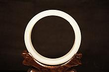Chinese antique A grade white jade bangle ; certi