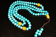 Chinese antique 108 blue coral beads necklace
