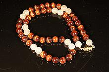 Chinese antique tiger eye and agate necklace