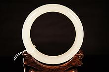Chinese antique white jade bangle
