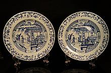 Pair of Chinese antique blue and white plates