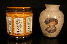 Two European porcelain pot and vase