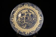 Antique blue and white plate ; England