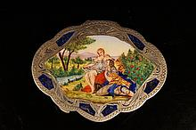 European antique enameled Silver box