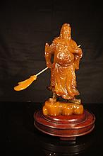 Chinese antique Shoushan Kwan Gong statue with hard wood stand