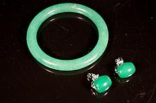 Chinese antique green jade Bangle & earrings ;